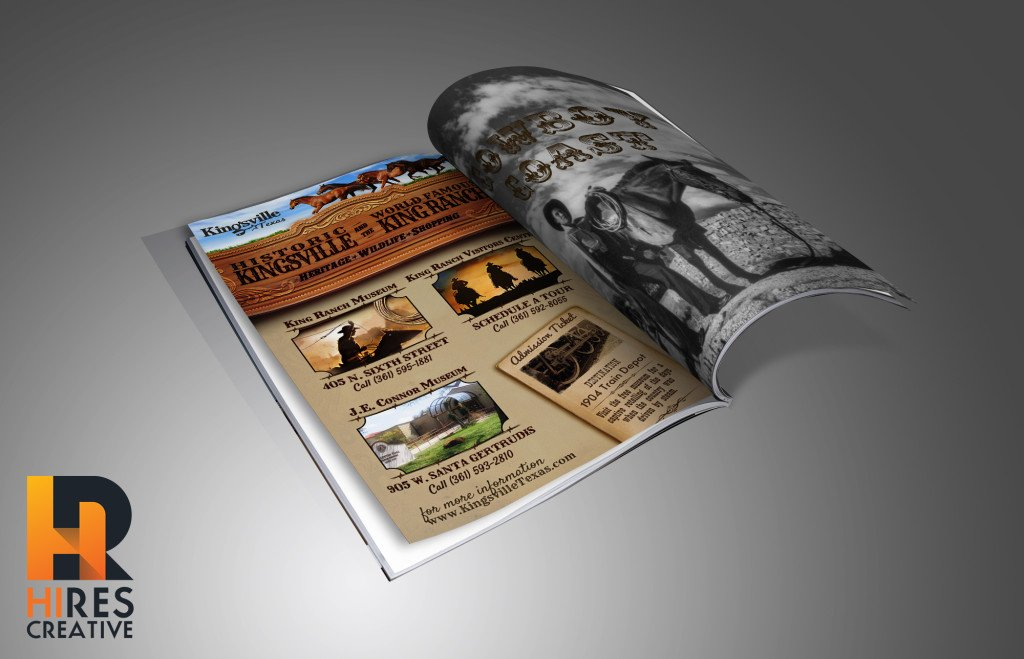 Kingsville Texas tourism guide advertisement mockup