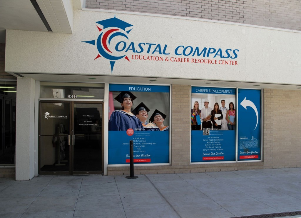 Coastal Compass Education and Career Resource Center window mock ups